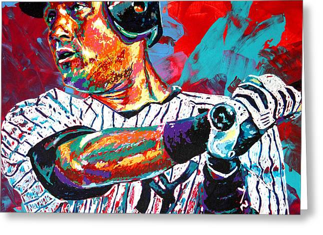 Jeter at Bat Greeting Card by Maria Arango