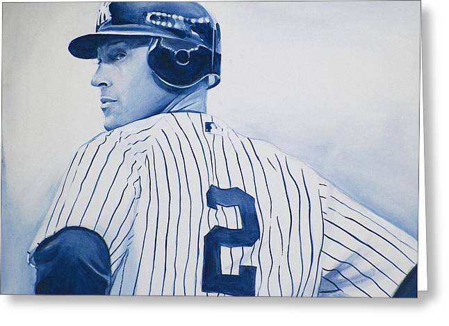 Yanks Greeting Cards - Jeter Greeting Card by Derek Donnelly