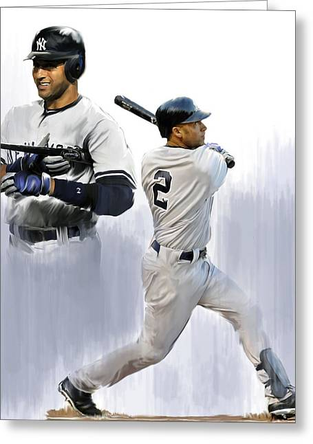 Lithograph Drawings Greeting Cards - Jeter Derek Jeter Greeting Card by Iconic Images Art Gallery David Pucciarelli