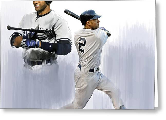 Prints Drawings Greeting Cards - Jeter V Derek Jeter Greeting Card by Iconic Images Art Gallery David Pucciarelli