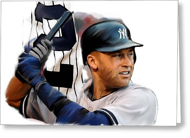 Jeter Drawings Greeting Cards - Jeter II  Derek Jeter Greeting Card by Iconic Images Art Gallery David Pucciarelli