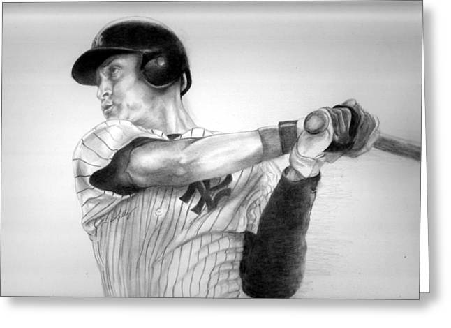 Sports Drawings Drawings Greeting Cards - Jeter Greeting Card by Kathleen Kelly Thompson