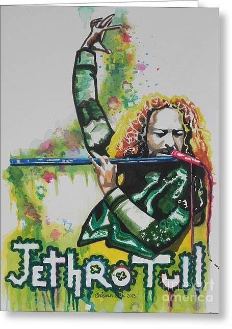 Recently Sold -  - Green And Yellow Abstract Greeting Cards - Jethro Tull Greeting Card by Chrisann Ellis