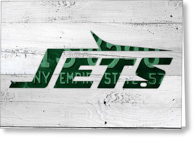 Jet Art Greeting Cards - Jets Football Team Retro Logo New York License Plate Art Greeting Card by Design Turnpike