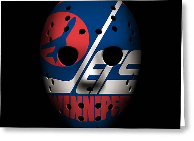 Jet Greeting Cards - Jets Goalie Mask Greeting Card by Joe Hamilton