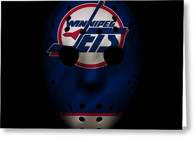 Jets Jersey Mask Greeting Card by Joe Hamilton