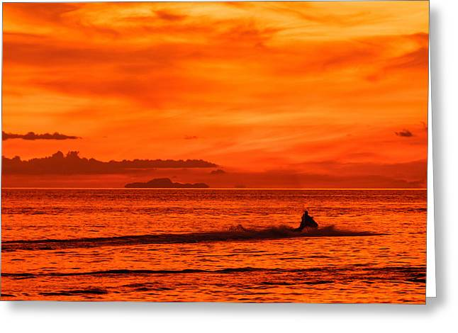 Asien Greeting Cards - Jetski ride into the sunset Greeting Card by Colin Utz