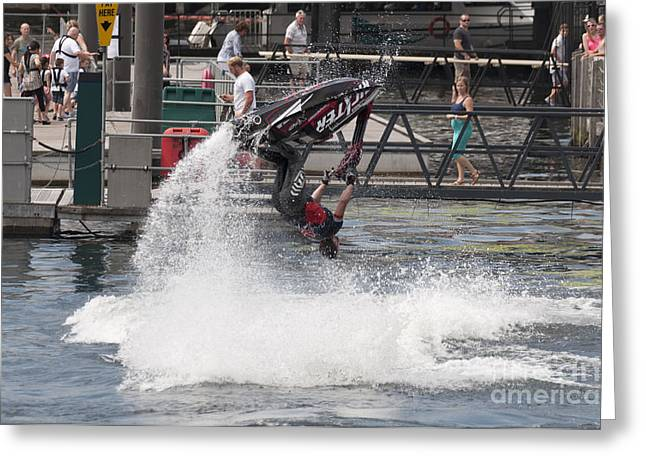 Moules Greeting Cards - Jetski Stunt 4 Greeting Card by Steve Purnell