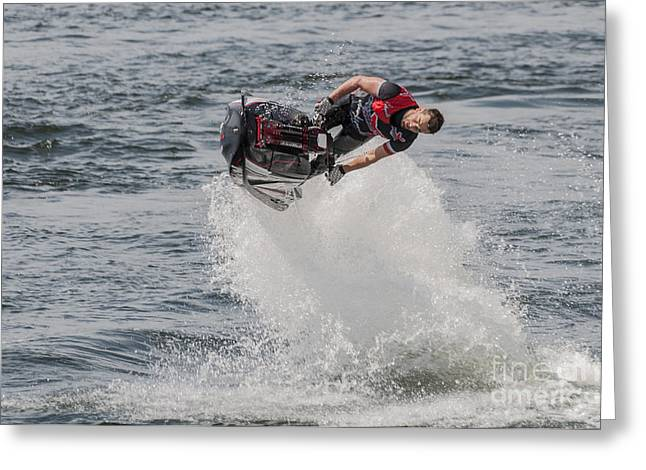 Moules Greeting Cards - Jetski Stunt 5 Greeting Card by Steve Purnell