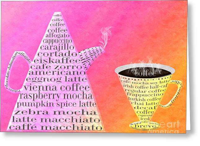 Sorbet Digital Art Greeting Cards - Jetsons Coffee Set Sorbet Greeting Card by Andee Design