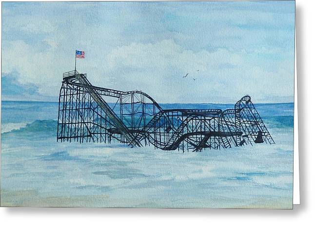 Seaside Heights Paintings Greeting Cards - JetStar Greeting Card by Anita Riemen