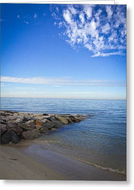 Storm Clouds Cape Cod Greeting Cards - Jetting Jetty Greeting Card by Lauren Kunkler
