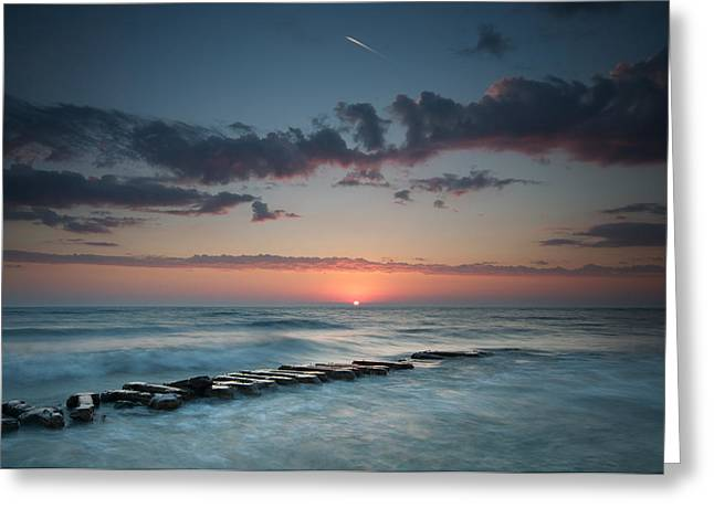 Atwater Greeting Cards - Jetty and the Sun Greeting Card by Josh Eral