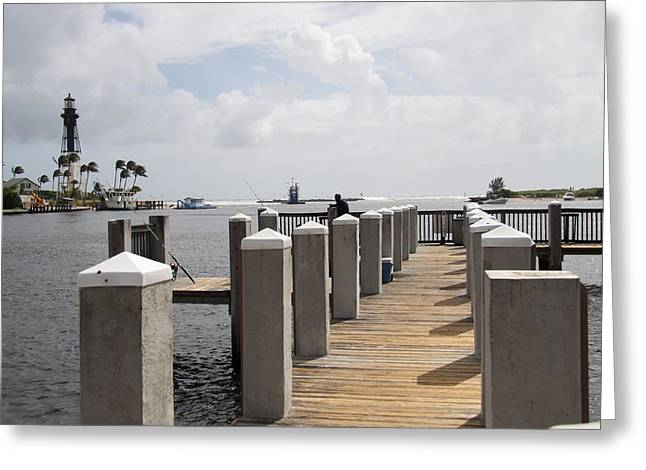 Jetty At Hillsboro Inlet Light Greeting Card by Christiane Schulze Art And Photography