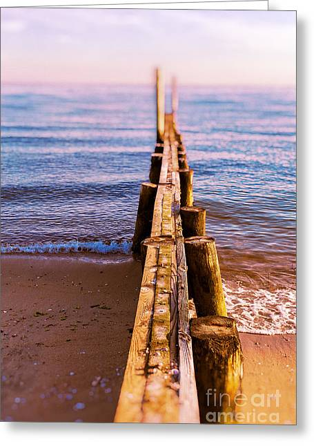 Saybrook Greeting Cards - Jetty at sunset Old Saybrook Greeting Card by Edward Fielding