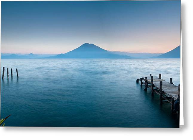 Cruz Greeting Cards - Jetty In A Lake With A Mountain Range Greeting Card by Panoramic Images