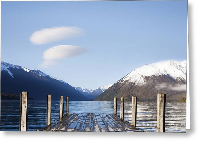 Jetty Greeting Cards - Jetty Lake Rotoiti New Zealand Square Greeting Card by Colin and Linda McKie