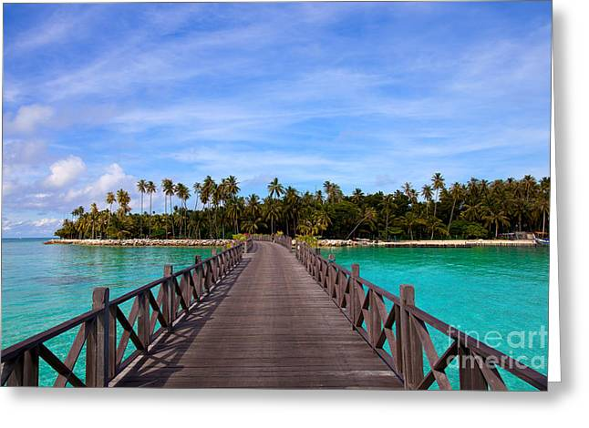 Exoticism Greeting Cards - Jetty on tropical island Greeting Card by Fototrav Print