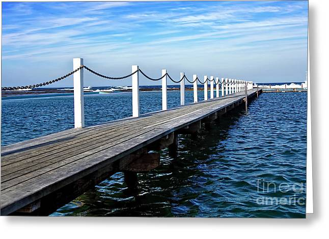 Diagonal Lines Greeting Cards - Jetty stretching to the Ocean Greeting Card by Kaye Menner