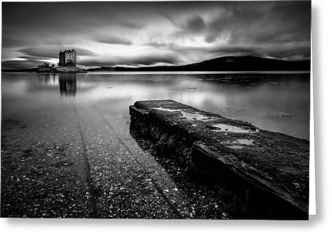Monochrome Greeting Cards - Jetty to Castle Stalker Greeting Card by Dave Bowman