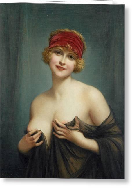 Francois Digital Greeting Cards - Jeune Femme en Deshabille Greeting Card by Francois Martin Kavel