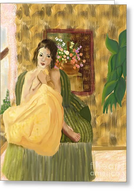 Pajamas Greeting Cards - Jeune Femme Greeting Card by Sydne Archambault