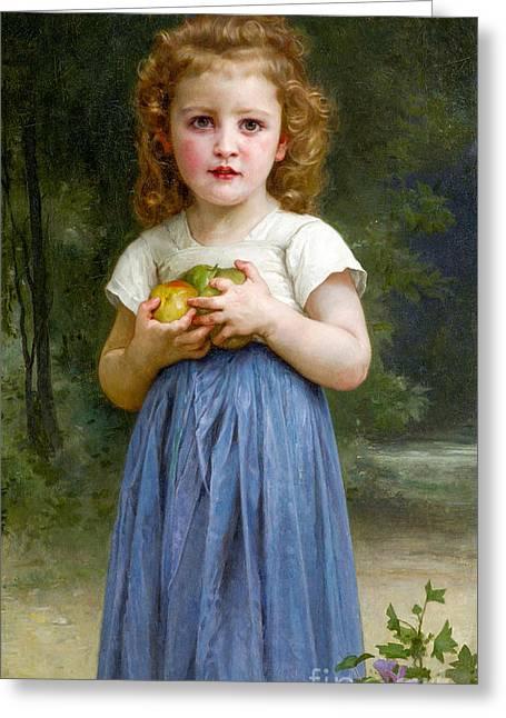 Jeunes Filles Greeting Cards - Jeune Fille et Enfant Greeting Card by William-Adolphe Bouguereau