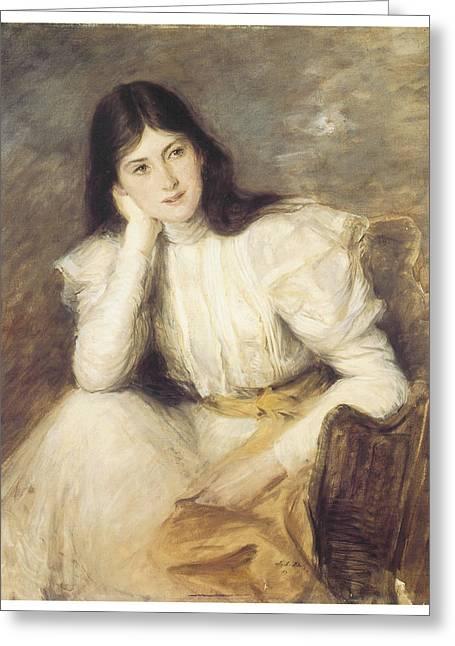 Victorian Era Woman Greeting Cards - Jeune fille reveuse portrait de Berthi Capel Greeting Card by Jacques-Emile Blanche