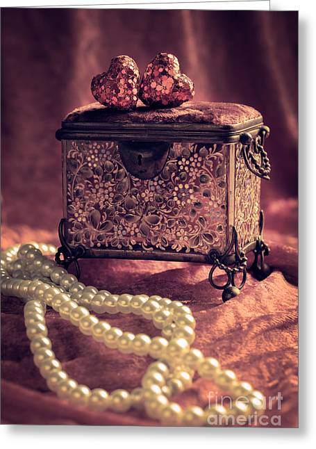 Elegant Bride Greeting Cards - Jewel Casket And Pearls Greeting Card by Amanda And Christopher Elwell