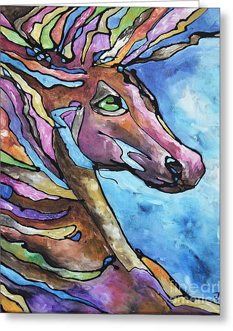 Burst Paintings Greeting Cards - Jewel Greeting Card by Jonelle T McCoy