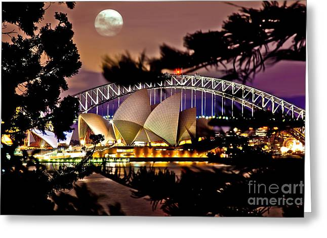 Through Greeting Cards - Full Moon Above Greeting Card by Az Jackson