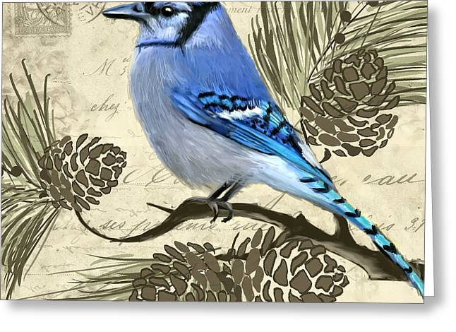 Passerine Greeting Cards - Jeweled Blue Greeting Card by Lourry Legarde