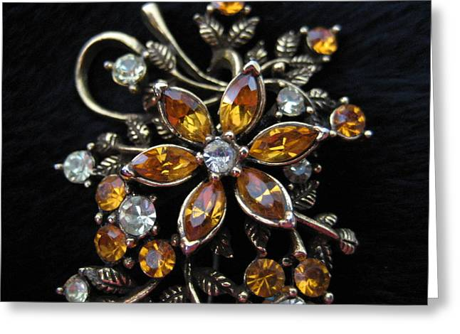 Print Card Jewelry Greeting Cards - Jeweled Brooch Greeting Card by Dotti Hannum