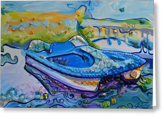 Boats In Water Mixed Media Greeting Cards - Jeweled Cruise Greeting Card by Janet Oh