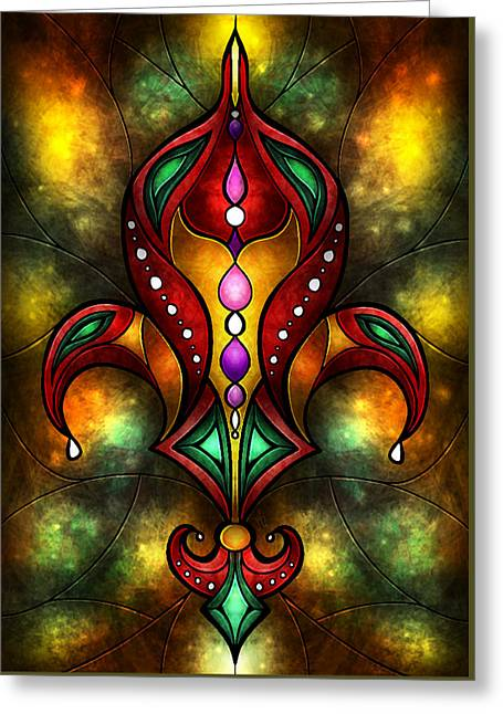 Jeweled Fleur De Lis Greeting Card by Mandie Manzano