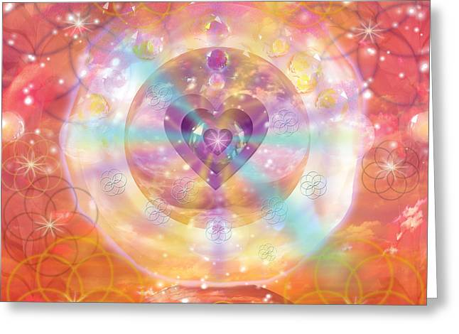 Jeweled Greeting Cards - Jeweled Heart of Happiness Greeting Card by Alixandra Mullins
