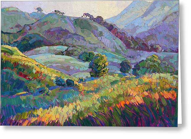 Oak Tree Paintings Greeting Cards - Jeweled Hills Greeting Card by Erin Hanson