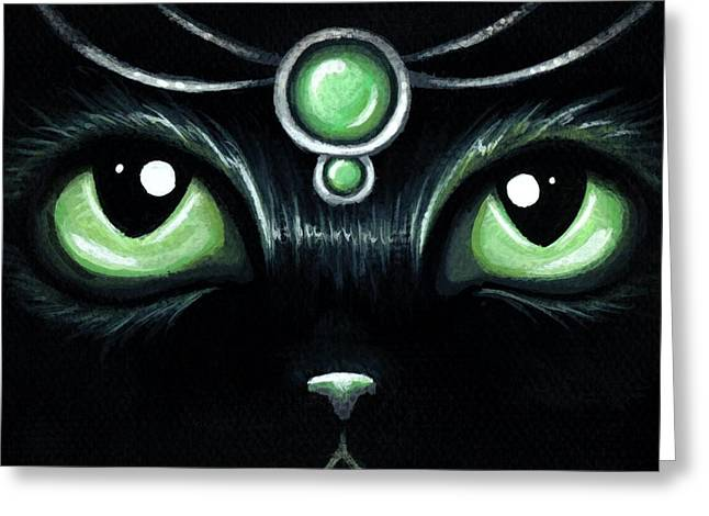 Black Cat Fantasy Greeting Cards - Jeweled Kitty 10 Mint Jade Greeting Card by Elaina  Wagner