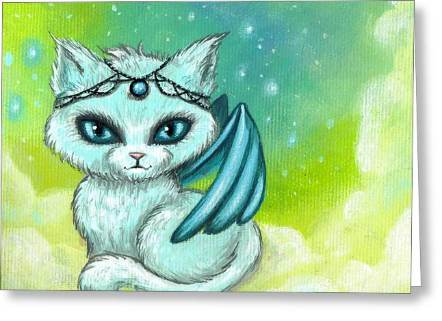 Jewels Greeting Cards - Jeweled Kitty 6 Greeting Card by Elaina  Wagner