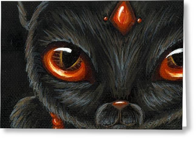 Fantasy Art Greeting Cards - Jeweled Kitty 9 Carnelian Greeting Card by Elaina  Wagner