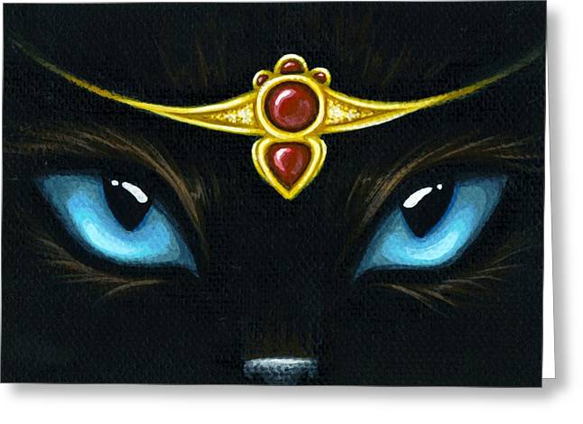 Black Cat Fantasy Greeting Cards - Jeweled Kitty Garnet Greeting Card by Elaina  Wagner