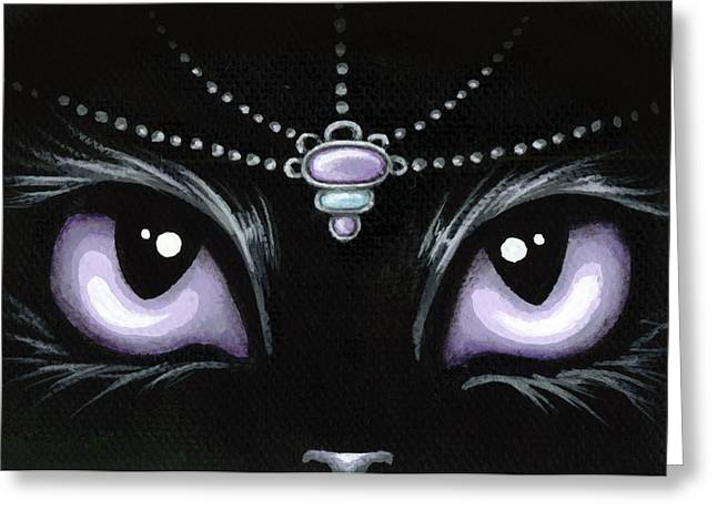 Black Cat Fantasy Greeting Cards - Jeweled Kitty Lilac Topaz Greeting Card by Elaina  Wagner