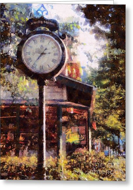 Broad Street Digital Art Greeting Cards - Jewelry Square Clock Milford  Greeting Card by Janine Riley