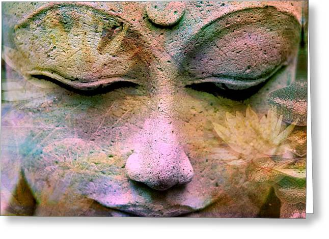 Spiritual Teacher Greeting Cards - Jewels Buddha Face Greeting Card by Alixandra Mullins