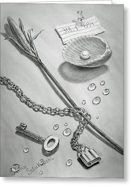Sea Shell Drawings Greeting Cards - Jewels of Love Greeting Card by Irina Sztukowski