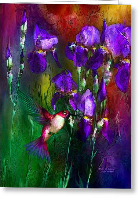 Iris Art Greeting Cards - Jewels Of Summer Greeting Card by Carol Cavalaris