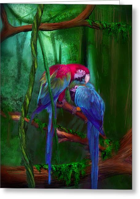 Parrot Art Print Greeting Cards - Jewels Of The Jungle Greeting Card by Carol Cavalaris