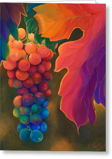 Clusters Of Grapes Paintings Greeting Cards - Jewels of the Vine Greeting Card by Sandi Whetzel