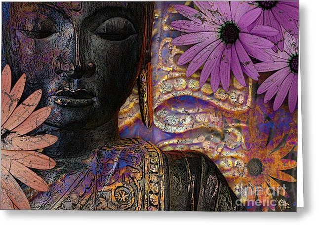 Purple Mixed Media Greeting Cards - Jewels of Wisdom Greeting Card by Christopher Beikmann