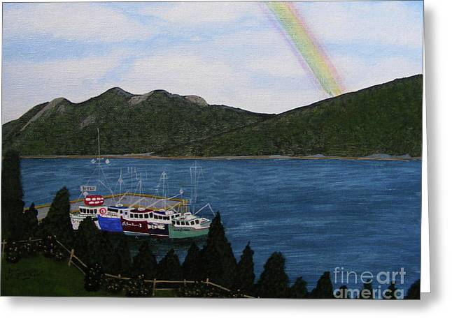 Jewels On The Water Greeting Card by Barbara Griffin